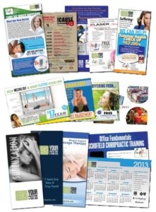 Chiropractic marketing print design | flyers, banners, postcards, brochures, business cards, letterheads, doorhangers, and more