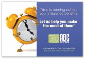 Insurance time is running out chiropractic marketing postcards cheap campaigns patients