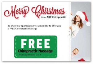 Justus chiropractic marketing holiday postcards christmas postcards new patient greeting card thank you advertising 5