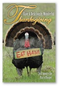 Thanksgiving campaign postcard funny cheap chiropractic