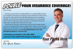 double your insurance coverage chiropractic marketing postcard campaign existing patients