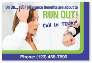generic chiropractic insurance reminder benefits marketing postcards cheap patients