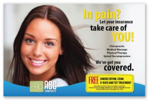 insurance coverage patients benefits chiropractic marketing postcards recall
