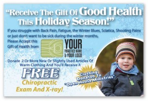 justus chiropractic marketing food drive campaigns clothing toy advertising patients holiday winter design good health