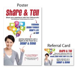 Share & tell headaches referral booster chiropractic postcards campaign boost referrals marketing personal injury advertising free consultation