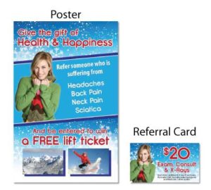 gift of health and happiness headaches referral booster chiropractic postcards campaign boost referrals marketing personal injury advertising free consultation