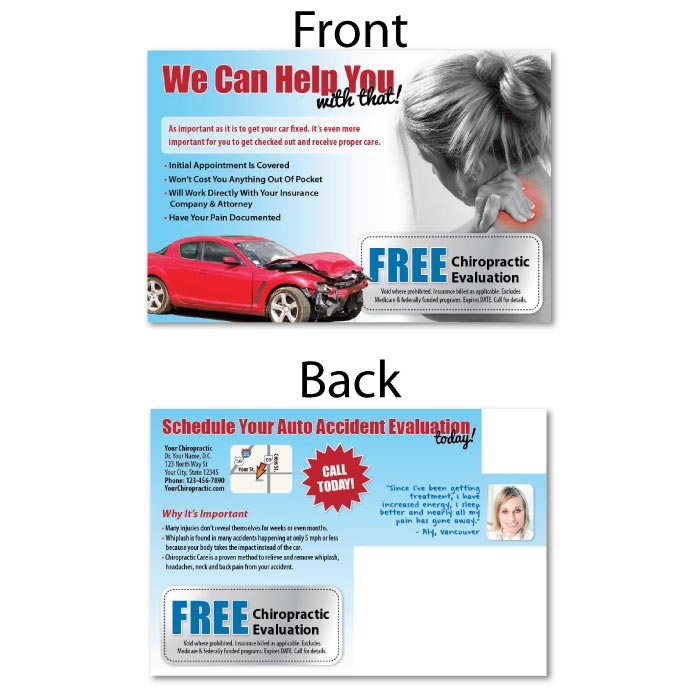 justus chiropractic marketing postcard postcards direct mail eddm personal injury pi advertising we can help