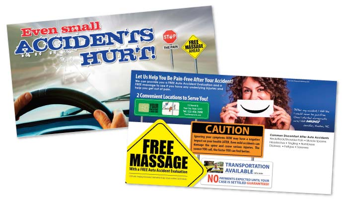 justus chiropractic marketing personal injury postcards pi postcard auto accident marketing flyers brochures